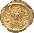 Ancients:Byzantine, Ancients: Justinian I the Great (AD 527-565). AV solidus (4.45 gm).NGC Choice AU 5/5 - 5/5....