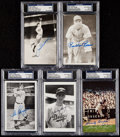 Autographs:Post Cards, Baseball Signed Postcard Lot of 5 with DiMaggio & Koufax - PSA/DNA Slabbed.. ...
