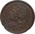 French Colonies: Louis XVIII bronze Essai 10 Centimes 1824-A MS64 Brown NGC