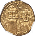 Ancients:Byzantine, Ancients: Constans II Pogonatus (AD 641-668), with Constantine IV,Heraclius and Tiberius. AV solidus (4.45 gm). NGC Choice MS 4/5 -4/5...