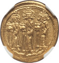 Ancients:Byzantine, Ancients: Heraclius (AD 610-641), with Heraclius Constantine and Heraclonas. AV solidus (4.44 gm). NGC MS 5/5 - 4/5....