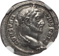 Ancients:Roman Imperial, Ancients: Constantius I, as Caesar (AD 293-305). AR argenteus (3.41gm). NGC MS 3/5 - 5/5. ...