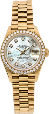 Rolex Lady's Diamond, Mother-of-Pearl, Gold Oyster Perpetual DateJust Watch