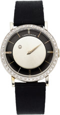 Estate Jewelry:Watches, Longines Gentleman's Diamond, Enamel, White Gold Mystery Watch. ...