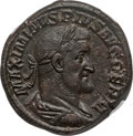 Ancients:Roman Imperial, Ancients: Maximinus I Thrax (AD 235-238). AE sestertius (21.34 gm).NGC AU 5/5 - 4/5, Fine Style....