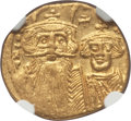 Ancients:Byzantine, Ancients: Constans II Pogonatus (AD 641-668), with Constantine IV,Heraclius and Tiberius (AD 659-668). AV solidus. NGC AU,clipped....