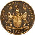 India:British India, India: British India. Madras Presidency gilt-copper Proof 20 Cash 1803 PR64 Deep Cameo PCGS,...