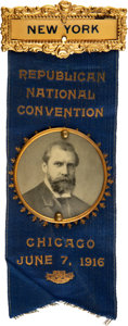 Political:Pinback Buttons (1896-present), Charles Evans Hughes: 1916 Favorite Son Republican National Convention Ribbon Badge....