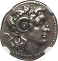 Ancients:Greek, Ancients: THRACIAN KINGDOM. Lysimachus (305-281 BC). AR drachm(4.27 gm). NGC Choice XF 4/5 - 4/5, Fine Style....