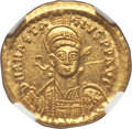 Ancients:Byzantine, Ancients: Anastasius I (AD 491-518). AV solidus (4.47 gm). NGC MS5/5 - 3/5, graffito....