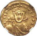 Ancients:Byzantine, Ancients: Justinian II, first reign (AD 685-695). AV solidus (4.30gm). NGC MS 4/5 - 3/5, clipped....