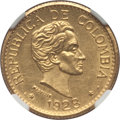 """Colombia, Colombia: Republic gold """"Medellin"""" 5 Pesos 1928 UNC Details(Surface Hairlines) NGC,..."""