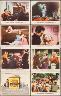 "High School Confidential (MGM, 1958). Overall: Fine+. Lobby Card Set of 8 (11"" X 14""). Exploitation. ... (Tota..."