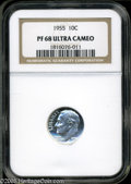 Proof Roosevelt Dimes: , 1955 10C PR68 Ultra Cameo NGC. Deeply frosted devices rise insplendor above the glasslike fields. An exquisite piece worth...