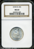 Seated Quarters: , 1878-CC 25C MS64 NGC. Wonderfully lustrous, nearly untoned example.A somewhat scarcer CC-mint issue, various wispy abrasio...