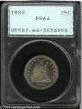 Proof Seated Quarters: , 1882 25C PR64 PCGS. Bright flashy proof fields sit beneath plumcolor that contrasts well with the rosy frosted devices. We...