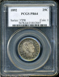 Proof Barber Quarters: , 1892 25C PR64 PCGS. Type Two Reverse. Lovely mottled violet and teal surfaces with attractive underlying flash. A few minut...
