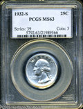 Washington Quarters: , 1932-S 25C MS63 PCGS. This first year key date issue from the SanFrancisco Mint is well struck with bright, untoned silver...