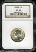 Washington Quarters: , 1936-D 25C MS65 NGC. Gem example with satiny surfaces that displaya hint of golden color. Typically struck, and free of mo...