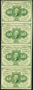 Fractional Currency, Fr. 1242 10¢ First Issue Uncut Strip of Four About New.. ...