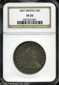 Early Half Dollars: , 1807 50C Draped Bust VF35 NGC. O-102, R.2. Violet-steel surfaceswith golden highlights. Evenly circulated across the high ...