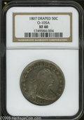 Early Half Dollars: , 1807 50C Draped Bust XF40 NGC. O-105a, R.4. Distinguished by thesmall die lump in the field between STATES and OF, and a l...