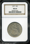 Seated Half Dollars: , 1877 50C MS64 NGC. Lovely golden surfaces with faint, near-matteluster. Nicely preserved, with few serious marks. Some lig...