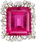 Estate Jewelry:Brooches - Pins, Pink Tourmaline, Diamond, Gold Pendant-Brooch. ...