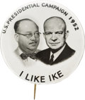 Political:Pinback Buttons (1896-present), Dwight D. Eisenhower: Real Photo Jugate with Real Supporter....