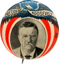 """Political:Pinback Buttons (1896-present), Theodore Roosevelt: Most Unusual 1 1/4"""" Picture Pin...."""