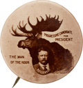 Political:Pinback Buttons (1896-present), Theodore Roosevelt: Bold Real Photo Bull Moose Picture Pin....