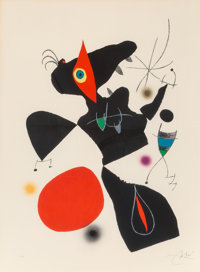 Joan Miró (Spanish, 1893-1983) Plate IV, from Oda a Joan Miro, 1973 Lithograph in colors