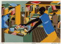 Fine Art - Work on Paper:Print, Jacob Lawrence (American, 1917-2000). The Library, 1978.Screenprint in colors on heavy cream wove paper. 10-7/8 x 15-1/...