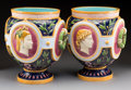 Ceramics & Porcelain, British:Antique  (Pre 1900), A Large Pair of Minton Majolica Jardinière Depicting the Four Continents, Stoke-on-Trent, Staffordshire, England, 1875. Mark... (Total: 2 Items)
