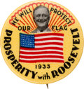 """Political:Pinback Buttons (1896-present), Franklin D. Roosevelt: Colorful """"We Will Protect Our Flag"""" Button...."""