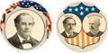 """Political:Pinback Buttons (1896-present), Bryan & Stevenson: 2 1/8"""" Jugate and Single Picture Pin.... (Total: 2 Items)"""