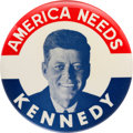 """Political:Pinback Buttons (1896-present), John F. Kennedy: Handsome 4"""" Picture Pin...."""