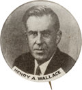 "Political:Pinback Buttons (1896-present), Henry A. Wallace: Rare 1 1/4"" Grey-Tone Picture Pin...."
