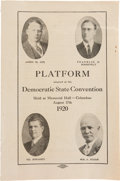 Political:Small Paper (1896-present), Cox & Roosevelt: Jugate Booklet for the 1920 Ohio StateConvention....