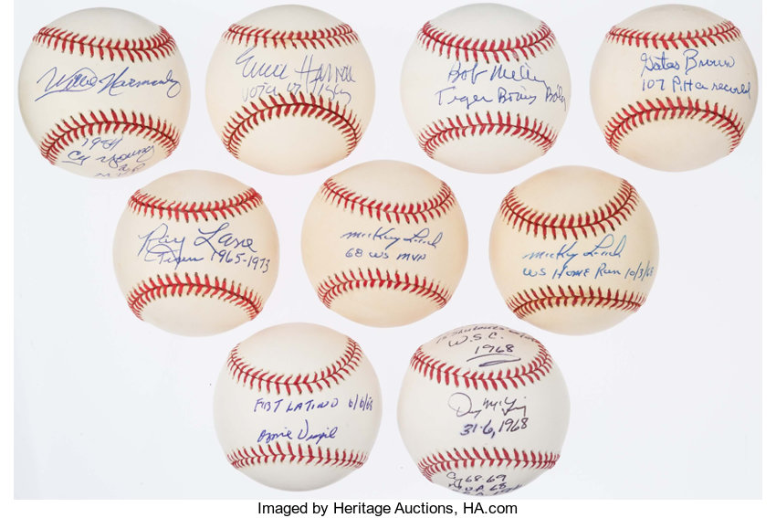642537b6122 Detroit Tigers Stars Single Signed Inscribed Baseball Lot of 9
