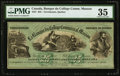 Canadian Currency, Terrebonne, PQ- Banque du College Commercial Masson $25 ND (ca.1868). ...