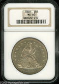 1840 $1 MS60 NGC. Well struck and lightly toned, with semi-reflective fields and a few minor contact marks. First year o...