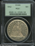 1842 $1 MS61 PCGS. Boldly struck except for Liberty's head and the obverse stars, with prooflike fields that reveal fain...
