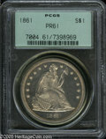 Proof Seated Dollars: , 1861 $1 PR61 PCGS. The listed proof mintage of this Civil War eradate is 1,000 pieces, but at least 600 of those went uns...