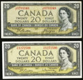 Canadian Currency, BC-41a $20 1954;. BC-41b $20 1954. ... (Total: 2 notes)