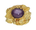 Estate Jewelry:Rings, Purple Star Sapphire, Gold Ring The dragon rin...