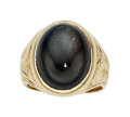 Estate Jewelry:Rings, Gentleman's Sapphire, Gold Ring  The ring feat...