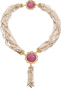 Estate Jewelry:Necklaces, Tourmaline, Freshwater Cultured Pearl, Gold Necklace, Buccellati. ...