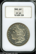 Proof Morgan Dollars: , 1883 $1 PR63 NGC. Sharply struck, with glassy reflectivity in the fields that nicely contrast with the motifs, and a narr...