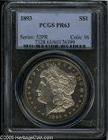 Proof Morgan Dollars: , 1893 $1 PR63 PCGS. One of 792 proofs minted this year. This example displays light gold-tan patina along the obverse perip...